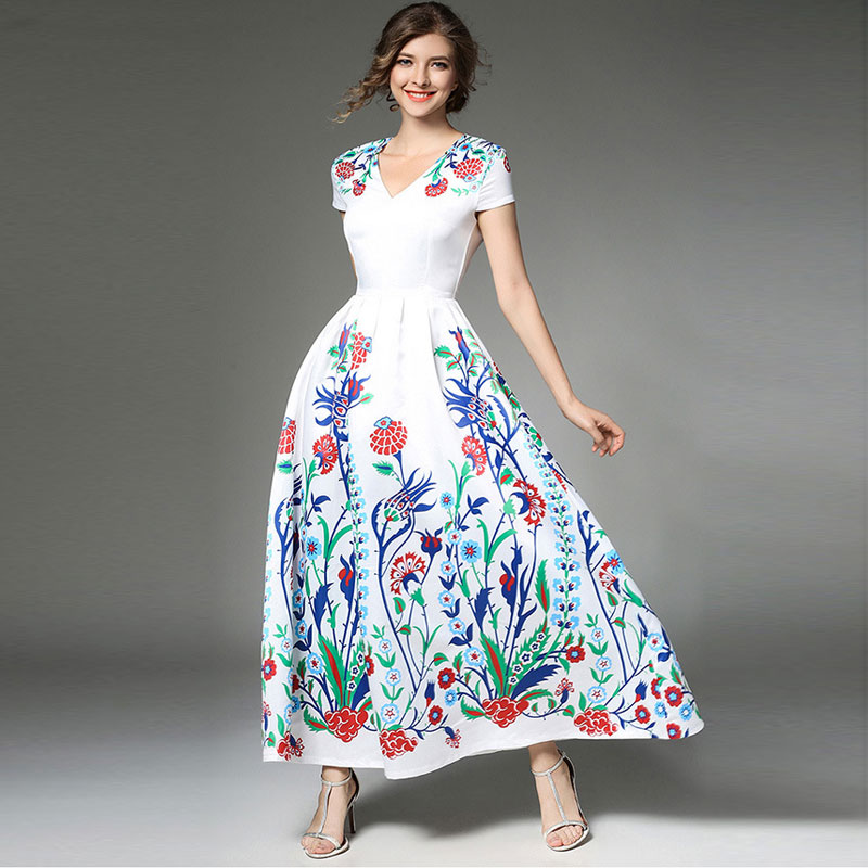 3228236f3ca UNIQUEWHO Lady Women Boho Chic Long Dresses Female Bohemia Fashion Flowers  Print Elegant Maxi Dress Spring Summer Beach Dress-in Dresses from Women s  ...