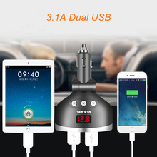 3 in 1 Dual USB Car Cigarette Lighter Socket Splitter Plug 3 Cigarette Lighter Car USB Voltage Monitor For iPhone Samsung