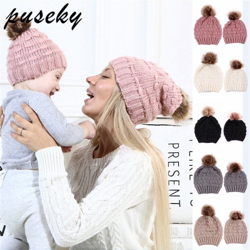 Puseky New Mom And Baby Winter Hat Kids Warm Raccoon Fur Bobble Beanie Cotton Knitted Kids gorro infanti Mommy Headwear Hat Caps new russia fur hat winter boy girl real rex rabbit fur hat children warm kids fur hat women ear bunny fur hat cap