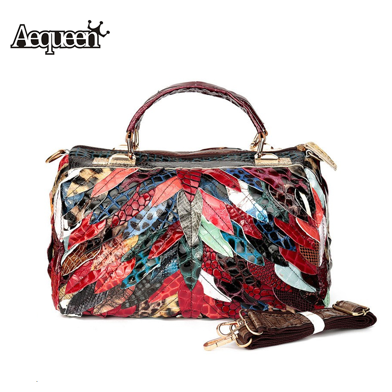 Women Genuine Leather Handbag Messenger Crossbody Bags Top-Handle Lady Patchwork Shoulder Bag Random Color Totes European Style - Aequeen Wallet Store store