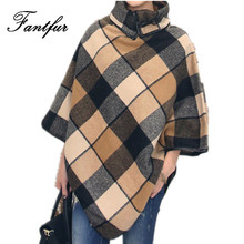 FANTFUR Wool Coat Cloak 2017 Autumn Women Outerwear Fashion Loose Turn-down Collar British Plaid Cape Ponchoe Woolen Coat Jacket(China)