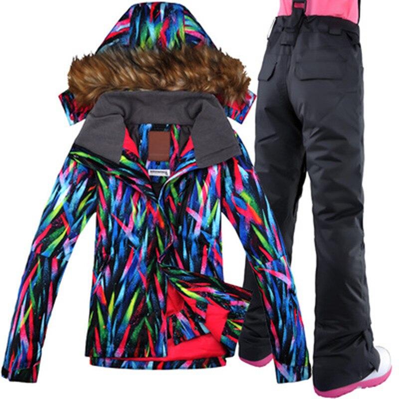 2019 GSOU neige marque veste de Ski pantalon Snowboard vêtements pantalon en plein air Sport porter Ski hiver vêtements femme Ski costume nouveau