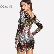 Iridescent Sequin Dress Round Neck Long Sleeve Sexy Party Dress With Zipper Women Clothing Sheath Autumn Short Dress