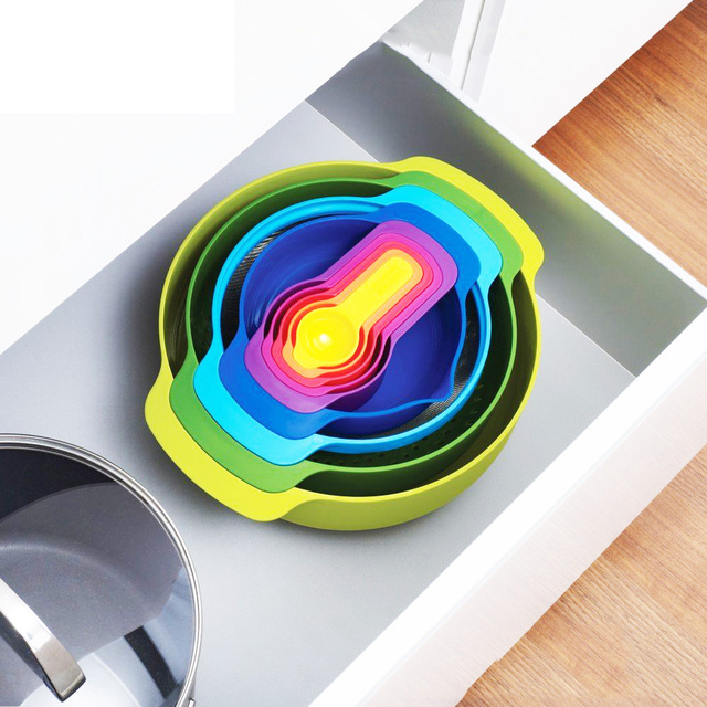 British Imports Joseph Rainbow Kitchen Accessories Cooking Tools Nine Sets Of Measuring Spoon Bowls Combination Cookware