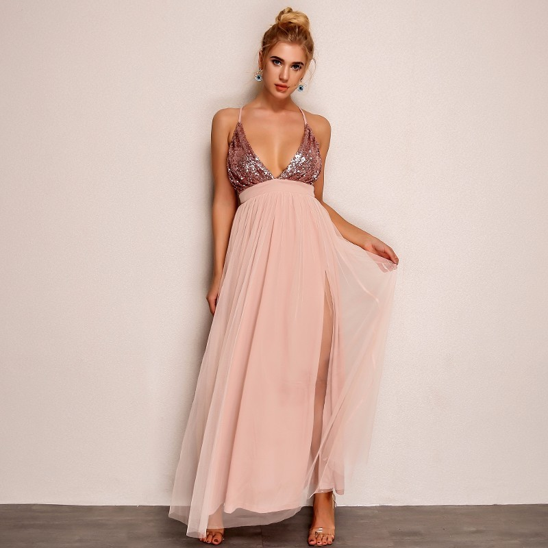 Pink Loose Sequin Deep V Strap Mesh Dress 3