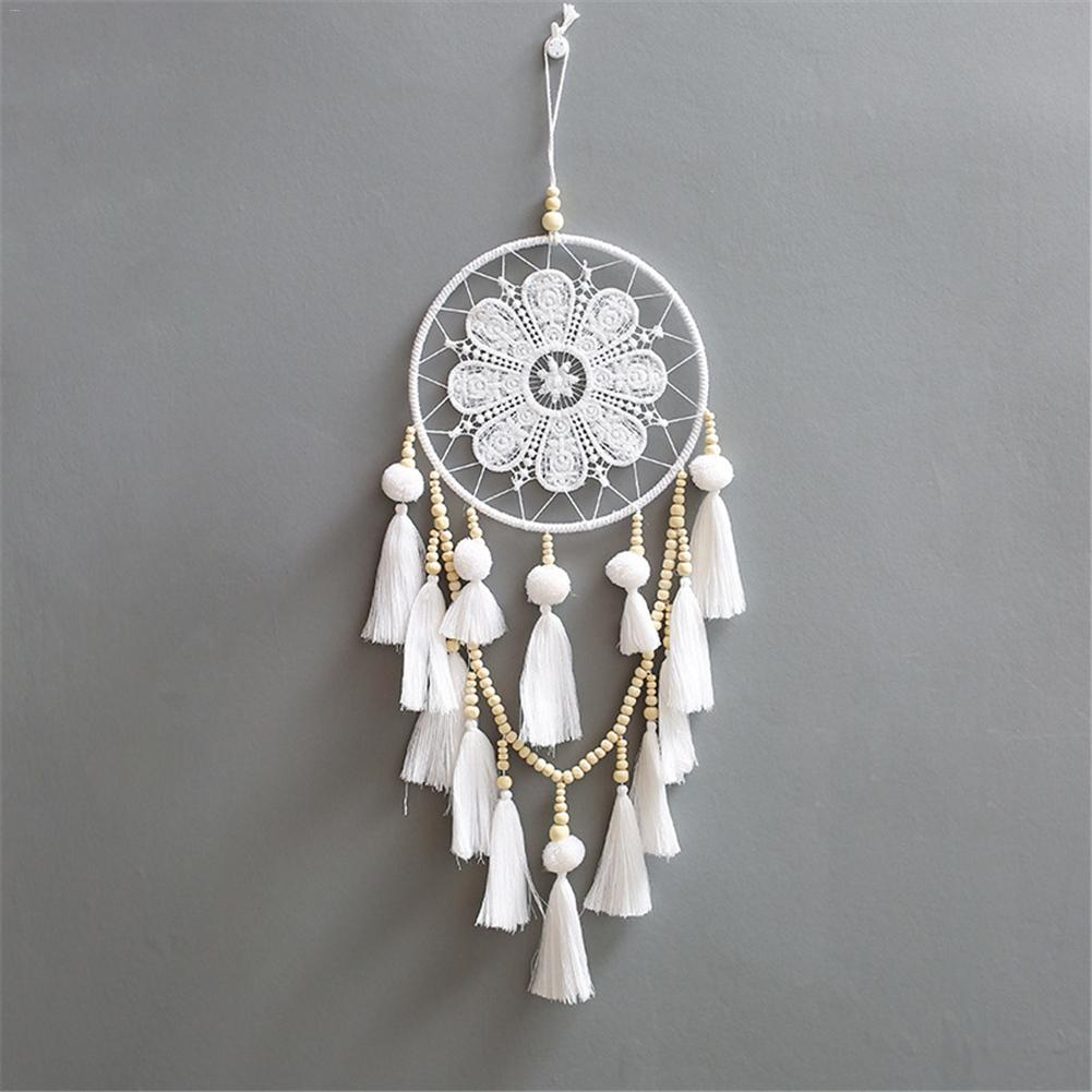 Handmade White Dream Catcher Wind Chimes with Tassels Best Craft Gift Dreamcatcher Decorative Ornament Car Hanging Home Decor