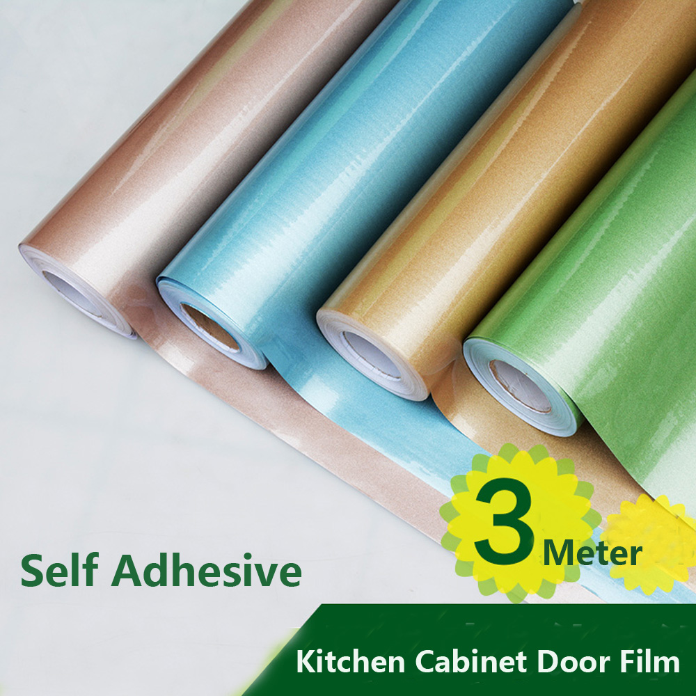 Shinny Film Kitchen Cabinet Glass Door Stickers Oil Paste Wall ...