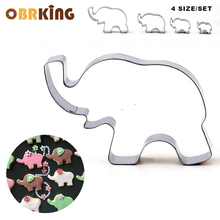 OBRKING 4Pcs Stainless Steel  Animal Elephant Shaped Cookie Cutter Biscuit Mould Fondant Cake Decroation Mold DIY Baking Tools