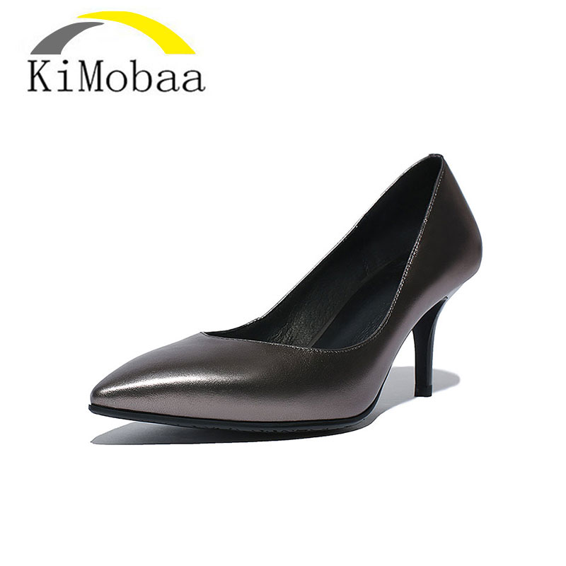 Kimobaa 2017 Women Pumps Shoes Woman Pumps Thin Heel High Heels Shoes Ladies Genuine Leather Shoes Zapatos Plus Size 34-42 TX36 woman pumps high heels basic ladies bowknot heel womens pumps thin heels sexy office shoes for women plus size us 10 5