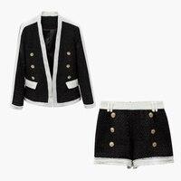 Stylish casual suit black and white spline bright silk suit jacket shorts suit