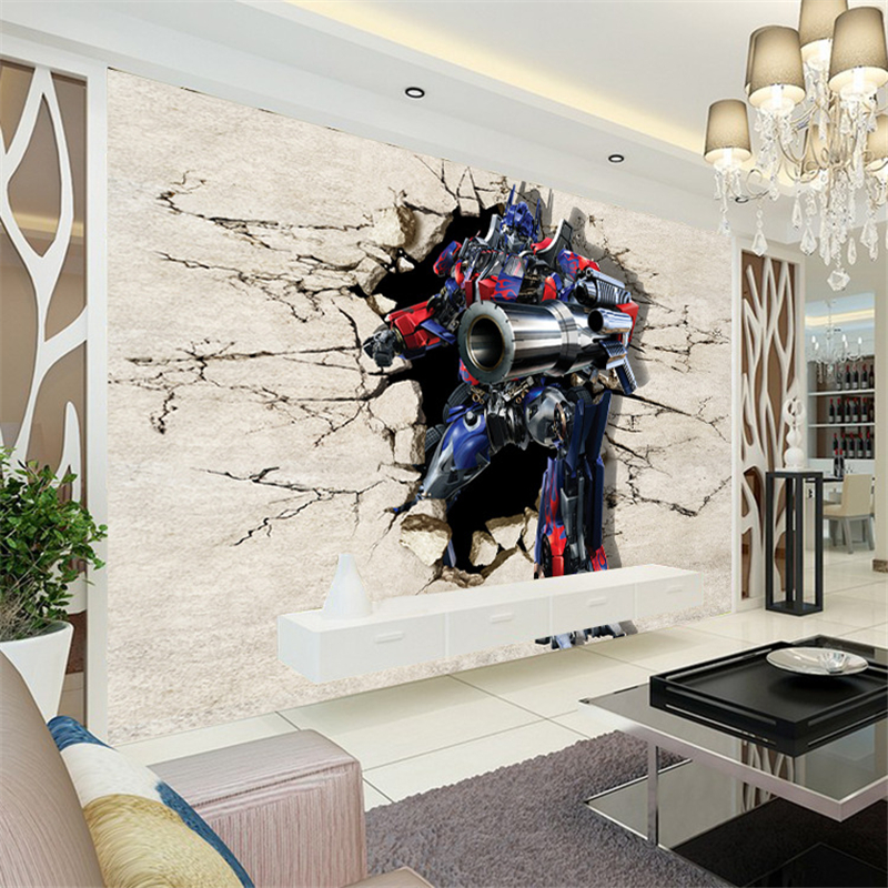 beibehang Custom wallpapers Transformers 3D large scale murals cartoon children s room theme room background papel