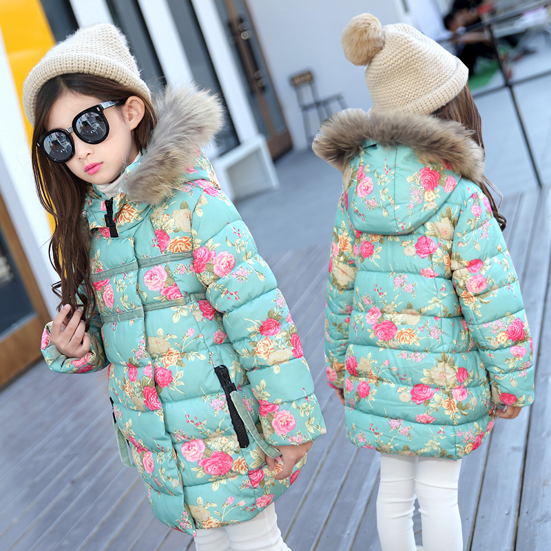 2017 New Arrival Winter Kids Girl Cotton Jacket Warm Thicken Little Girls Floral Coats Hooded Xmas Jacket for 3 5 7 8 9 13 Years girl winter jacket 2017 new long section kids winter coats thicken warm cotton wadded jacket solid hooded children outwear 6 13t