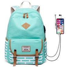 Nowe plecaki damskie plecaki z portami USB szkolne torby dla nastolatków dziewczęta plecak na laptopa mochila feminina studenci Satchel