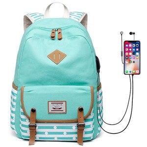Image 1 - Yeni kadın sırt çantası USB sırt çantaları okul gençler için çanta kızlar Laptop sırt çantası mochila feminina öğrenciler çantası