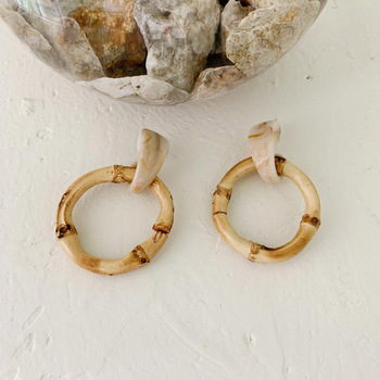 Round Bamboo Earrings  2
