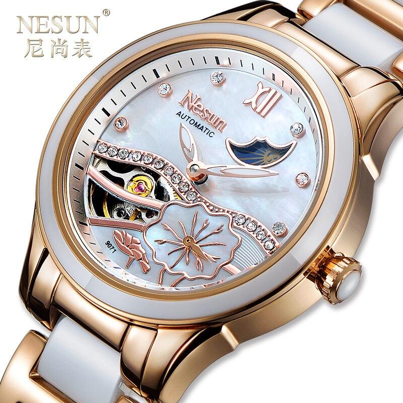 Nouveau Suisse Nesun Creux Tourbillon Femmes Montre Marque De Luxe Horloge Automatique Auto-Vent Poignet Dames Imperméables Montre N9071-1