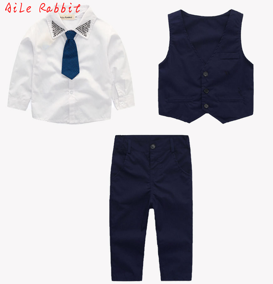 AiLe Rabbit Gentleman Boys Set Vest + Shirt + Pants 3 Pieces Suits Fashion Bright Collar Tie Apparel Long Sleeve Autumn 2017 Hot ...
