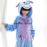 Cartoon Animal Cosplay Donkey Onesie Pajamas Jumpsuit Hoodies Adults Kids Cos Costume For Halloween And Carnival