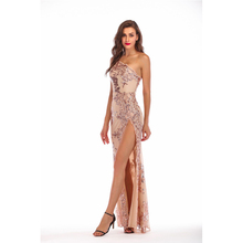 Sheath Sequins Sexy Backless One Shoulder Dress High Slit Night Club Long Dress Printed Elegant Sleeveless Maxi Women Clothing high slit long sleeveless cami dress
