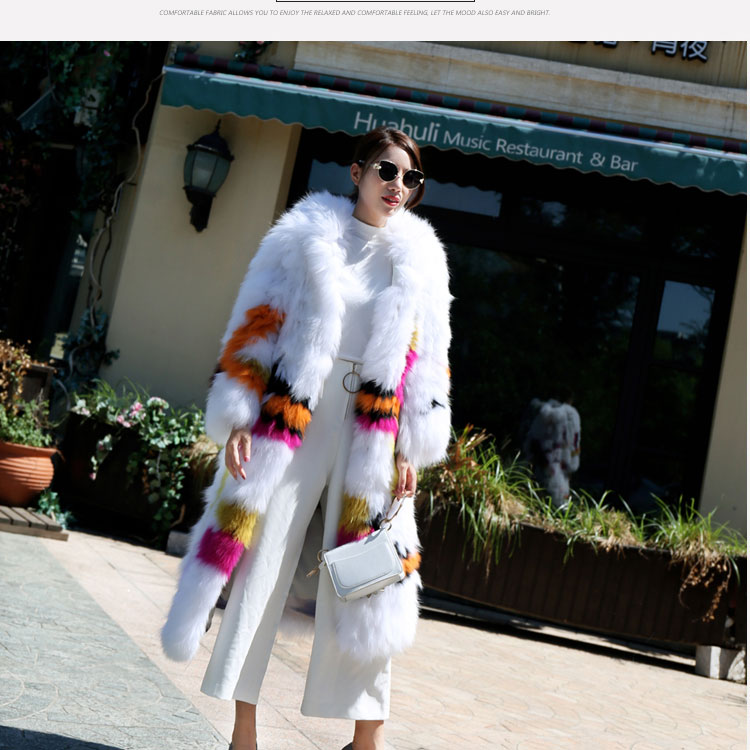 Gennuine Real Knitted Fox Fur Coat With Hoody 2018 New Fashion Long Natural Fox Fur Outwear For Autumn Winter Female Overcoats