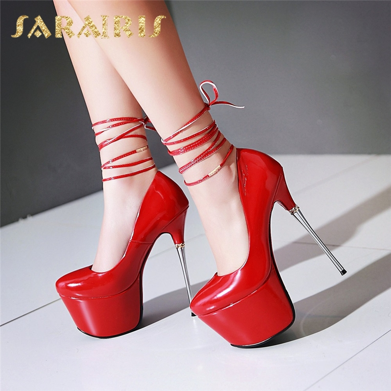 SARAIRIS 2018 Large Sizes 32-43 Spring Summer Party Shoes Women 7 Colors Sexy 16cm Thin High Heels Fashion Red Pumps Shoes karinluna new big size 32 43 peep toe summer party shoes women 7 colors sexy 16cm thin high heels fashion red pumps shoes