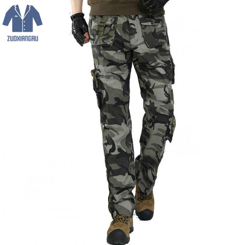 Trousers Cargo-Pants Stretch Many-Pockets Army Tactical Straight Cotton Casual Flexible