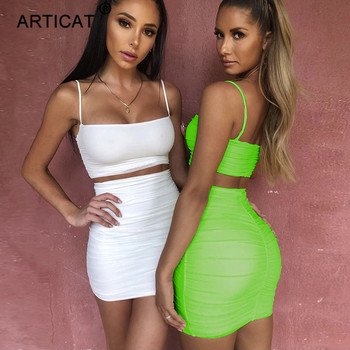 Articat Spaghetti Strap Two Piece Dress Women Ruched Pleated Bodycon Dress Short Strapless Summer Casual Party Dress Vestidos 1