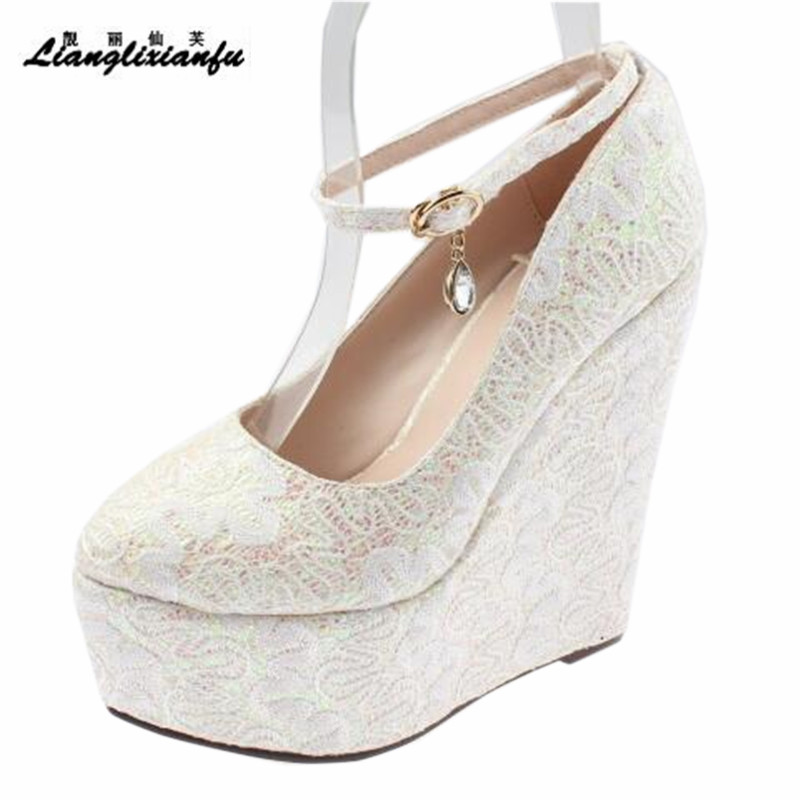 LLXF Buckle 15cm High-heeled Lace Shoes woman Stiletto female Sweet Wedges Pumps Small Yards:30 31 32 33 34 Plus:41 42 43 small yards autumn 16 30 31 32 33 plus size 40 41 42 43 genuine leather thick heel single shoes women s high heeled shoes