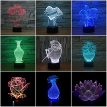 Unique Gifts Romantic love vase Rose Flower 3D Led Night Light 7 Color Change Novelty Table Lamp Home Decor Bedside LED Lamp
