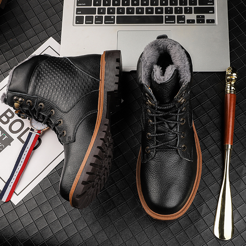 Fashion men 39 s boots military casual genuine leather cow winter shoes men boot plus size snow shoe warm army ankle boots for men in Snow Boots from Shoes