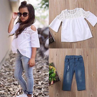 цена Toddler Baby Kids Girls Clothes Sets Summer Lace Tops T-Shirt Short Sleeve Denim Jeans Pants Cute Outfits Clothing Set