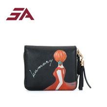SA Brand 2018 Leather Women Wallets Tassel cartoon printing Ladies Short Wallet Female Money Clip zipper Mini Purse luxury