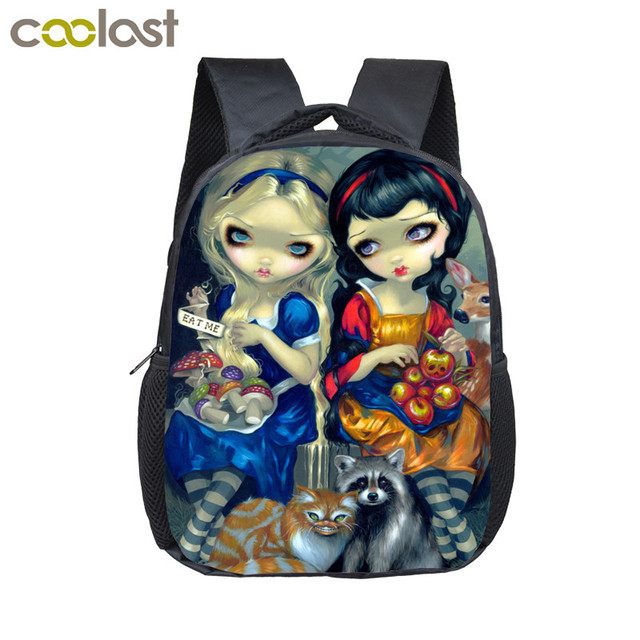 2ff9880fa6 Kawaii Gothic Cartoon Girls Small Backpack Kids Kindergarten Bag Girls  Diaper Backpack Baby Toddler Bag Children School Bags