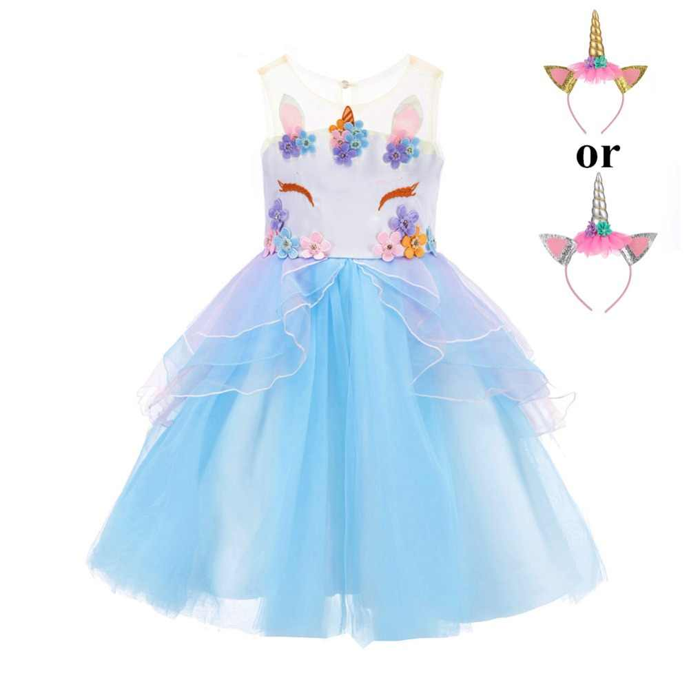 5b111304b7a2 ... Fancy Kids Unicorn Tulle Dress for Girls Embroidery Ball Gown Baby Flower  Girl Princess Dresses Wedding ...
