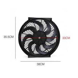 Image 5 - Universal 14 Inch  Car Water Oil Cooler DC12V 90W Pull & Push bend Black Blade Electric Cooling Radiator Fan For Car Kart Buggy