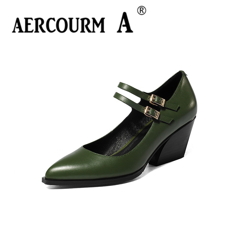 Aercourm A Lady Shoes 2017 Spring Pointed Toe Women Pumps High Heels Shoes Black Green High