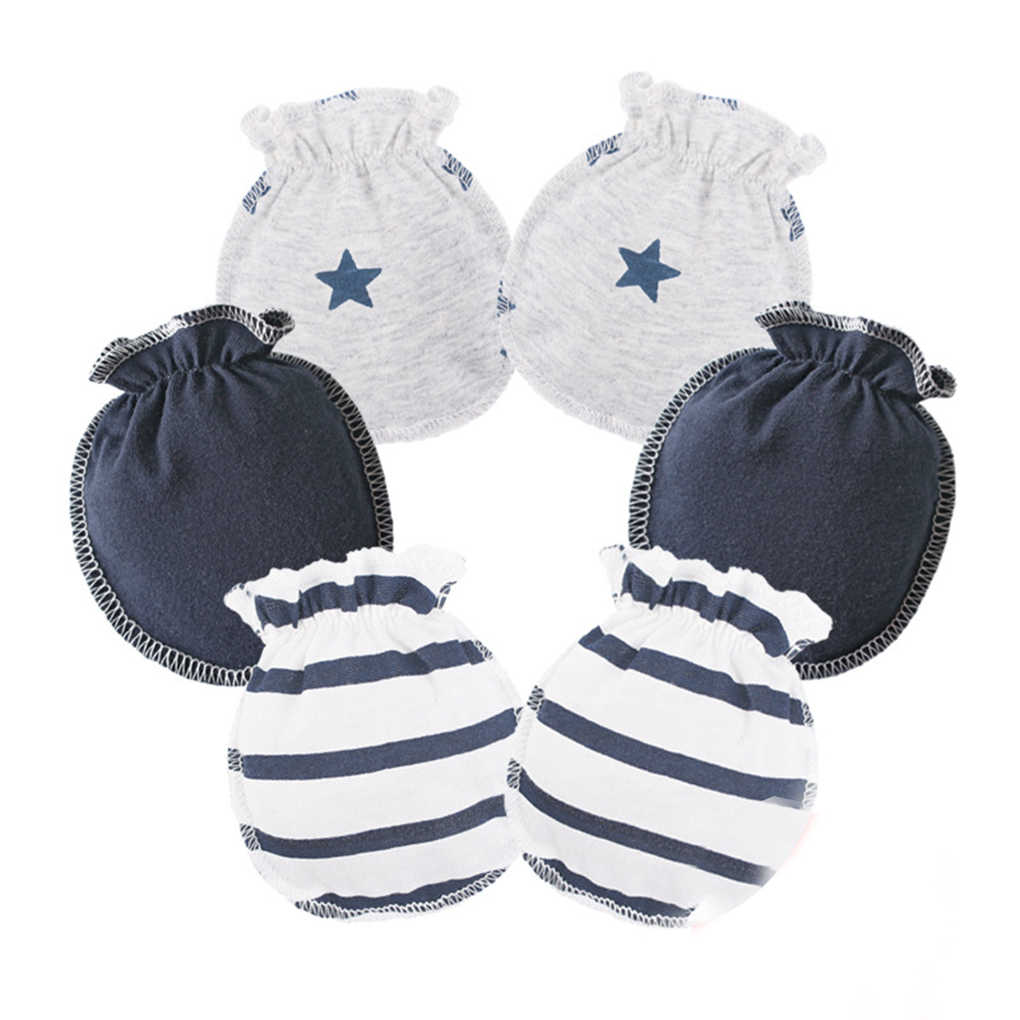高品質 3 ペア赤ちゃん幼児ソフト綿手袋弾性ゴムバンド傷なし新生児幼児ミトン