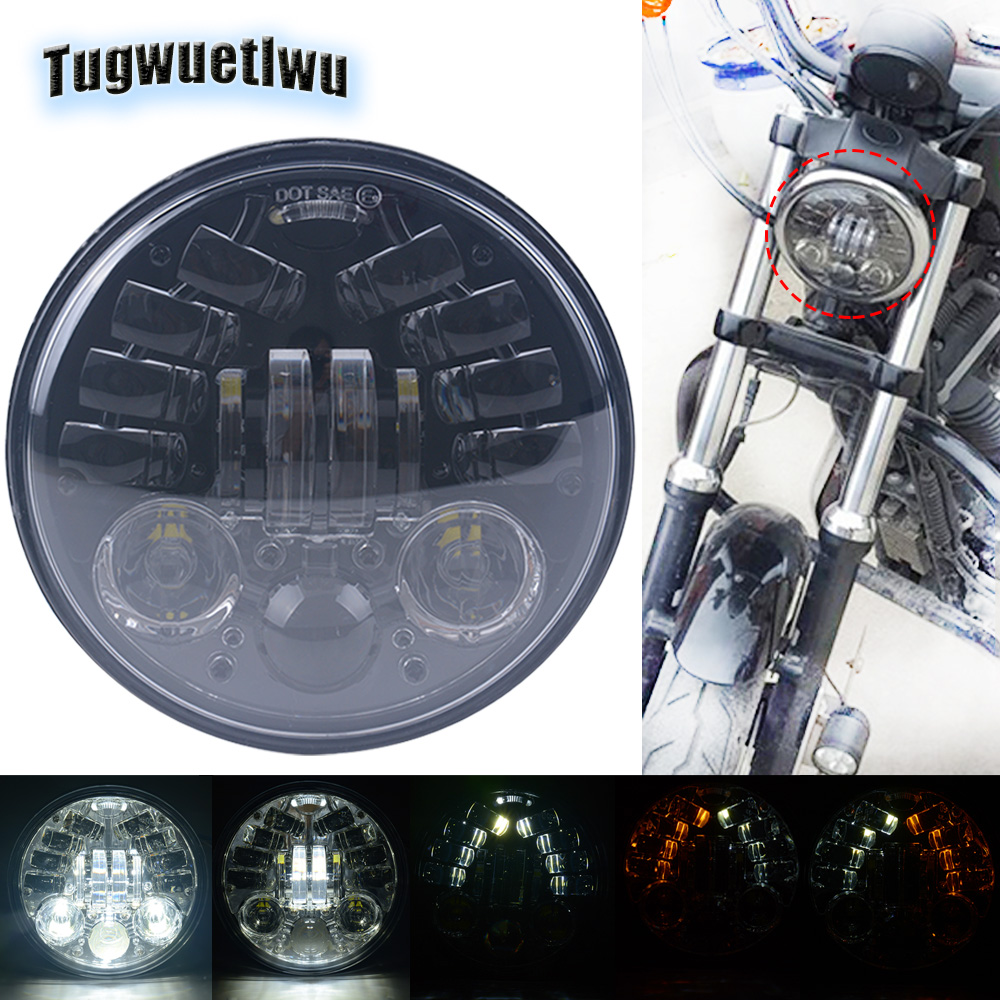 "1PC 7/"" Motorcycle Headlight LED Turn Signal Light For Harley Cafe Racer Davidson"