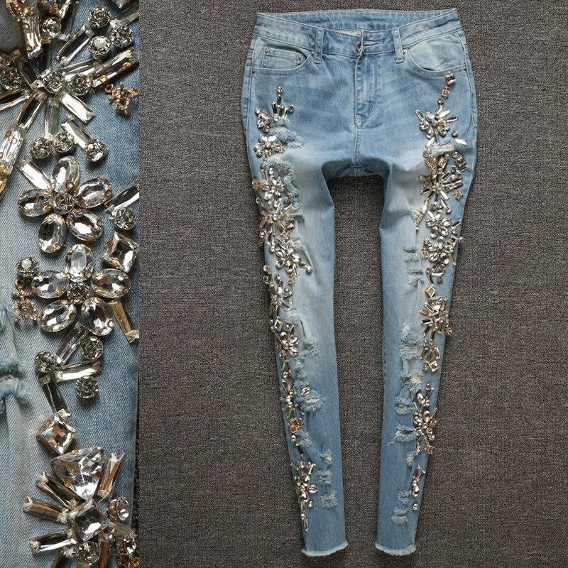 Luxe diamant Jeans perlé Slim pantalon femmes bleu crayon Denim Vintage casual pantalon Jeans femme