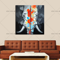 Hot Sell Product Hand painted Animal Oil Painting On Canvas Abstract Elephant High Quality Paintings Wall Art Decor