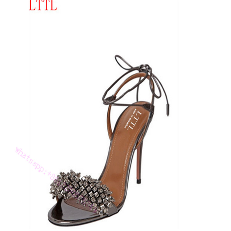 ФОТО shoes Woman 2017 fashion diamante pointy Spring ankle strap toe Thin High Heels For Women wedding or party