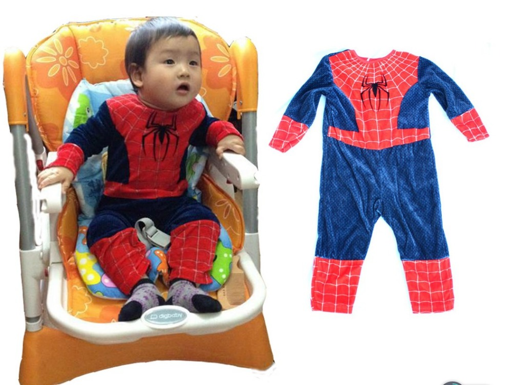 Free shipping ,halloween party cosplay clothing cheap velvet baby spiderman costume clothes 0-12 months