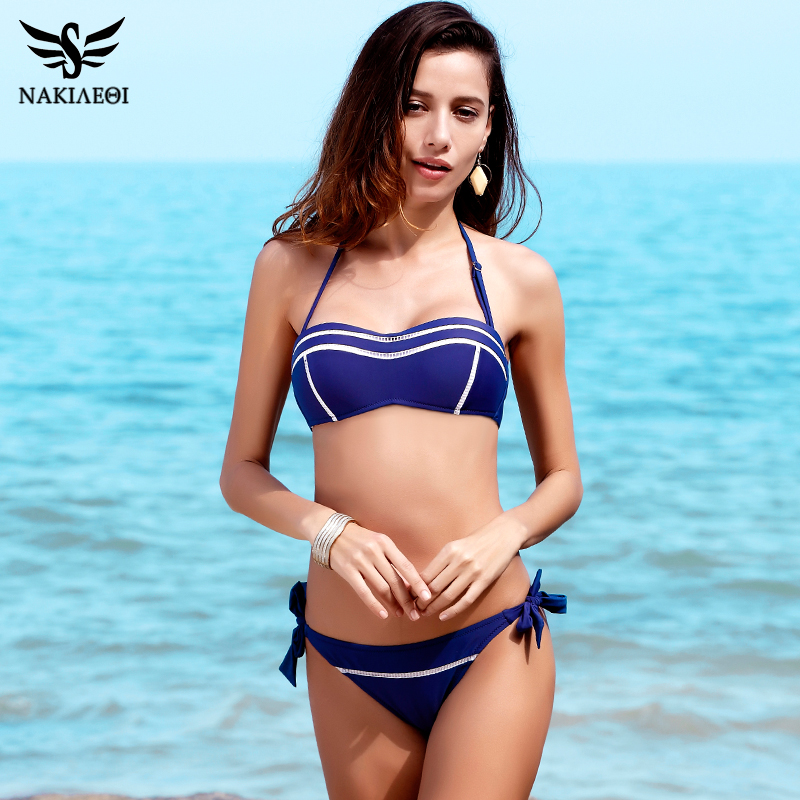 NAKIAEOI 2017 New Sexy Bandeau Bikinis Women Swimsuit Swimwear female Halter Brazilian Bikini Set Summer Beach Bathing Suit Swim new women sexy brazilian bikinis brand beach swimsuit bright colors halter tube