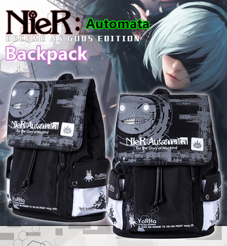 Game NieR : Automata Backpack YoRHa No.2 Type B 2B 9S Anime Cosplay School Travel Laptop Bag Punk Satchel love thank you nier automata 2b video game acrylic stand figure model double side plate holder cake topper anime japanese