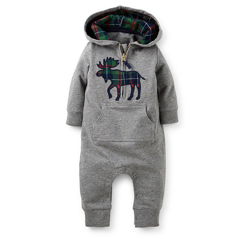 Newborn Baby Boy Cute Cow Hooded Cotton Rompers Kids Clothes Meninas Jumpsuit Snowsuit Animal Print Overall 6M-24M Hot Sale