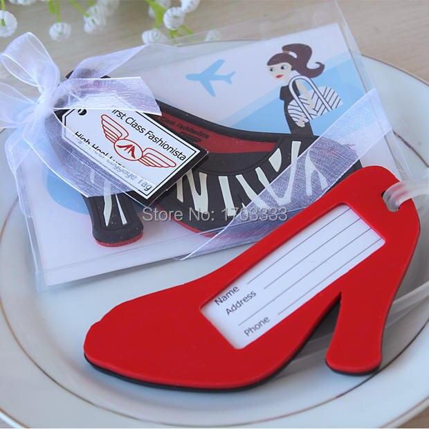 200pcs High Heel shoe Luggage Tag novelty wedding favors bridal shower gifts DHL Fedex Free Shipping