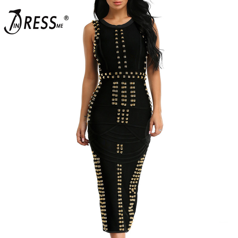 INDRESSME 2018 Good Quality Celebrity Kim Kardashian Dress Sleeveless Beaded Bandage Dress Long