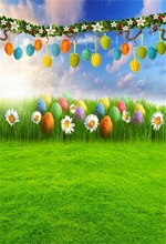 Laeacco Spring Easter Eggs Garland Green Grassland Photography Backgrounds Vinyl Custom Photographic Backdrops For Photo Studio