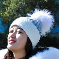 ผู้หญิงฤดูหนาวลูกขนหมวกหมวกแคช