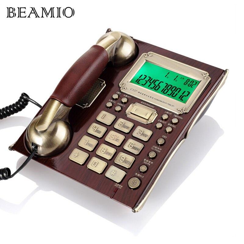 Teléfono Fijo clásico europeo antiguo con identificación de llamadas, teléfono fijo de gama alta con auricular de cuero para negocios, oficina y hogar, color marrón
